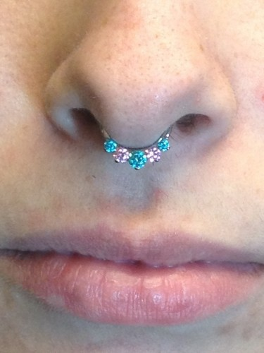 Septum Piercing With A Gorgeous Mint And Pink CZ Combo From Industrial Strength