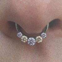 Implant Grade Titanium Septum Clicker With Champagne And Lavender Cz